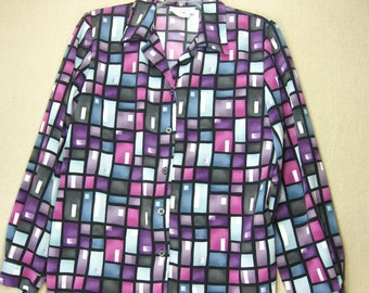 1990s Abstract Geometric Blouse, Haberdashery by Leslie Fay, Size 10, Vintage Button Up Blouse