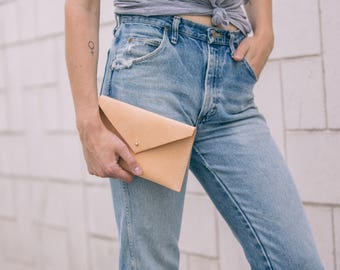 Womens Leather Clutch - Envelope Clutch - Leather Envelope - Tan Leather Clutch - Womens Leather Wallet - Leather Envelope Clutch