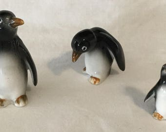 3p Vintage Bone China Penguin Family of Figurines Made in Japan
