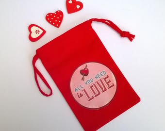 """Mini bag fabric red Valentine's day, """"All you need is love"""" 15 x 9, 5"""
