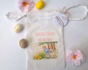Children's Easter little fabric bag nanny gift and chicks + label