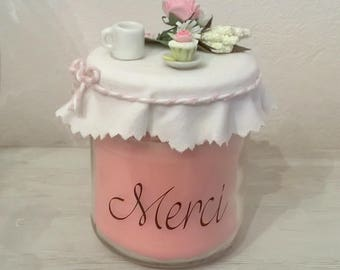 """Merci"" pastel candle, mother's day or other fashion jam jar"