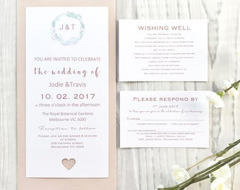 METALLIC Personalised Wedding Invitation Set With Wishing Well, RSVP, Reception. Envelope. Rose Gold, Gold, Silver