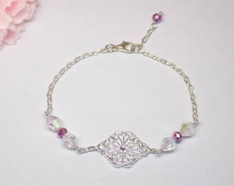 Purple and clear Crystal faceted Beads Bracelet with purple Rhinestones, silver metal filigree pendant