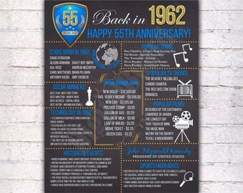 55th Anniversary Chalkboard Poster Sign Royal Blue & Gold, Anniversary Gift Poster Print, Married in 1962, 55 Years Ago, Digital File - 574