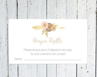 Diaper Raffle Ticket, Pink And Gold Diaper Raffle Ticket, Feathers, Arrow, Purple, Floral, Instant Download