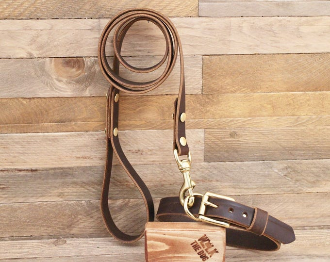 Dog collar, Dog leash, Set, Cocoa, Brass hardware, FREE ID TAG, Collar and leash, Handmade leather collar, Leather leash, Leather collar.