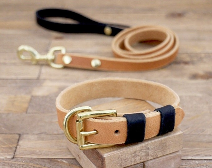 Collar and leash, Set, Sale 15%, Whiskey, Raven, Colour,  Brass, FREE ID TAG, Handmade, Leather collar, Leather leash, Leather collar.