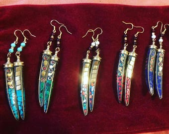 Tibetan brass crystal horns (1pair)