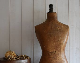 Antique French bust distressed mannequin 1930s