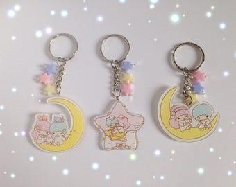 Kawaii Little Twin Stars Keyring/Keychains, Fairy Kei, Pastel Kei, Mahou Kei, Harajuku etc inspired