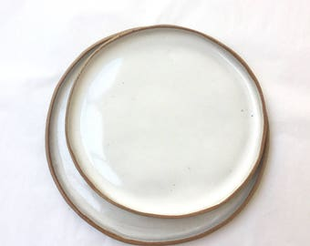 White stoneware ceramic dinner plate