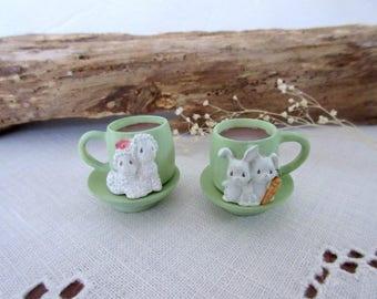 Vintage dollhouse  miniature cups  dollhouse tea cup mini cups miniature food