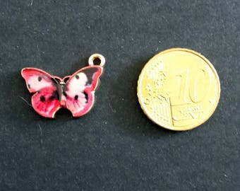 Charm Butterfly pink, red, white and black