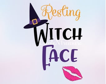 Resting Witch Face svg, witch svg, halloween svg. Cutting file for Silhouette and Cricut. Fall svg, Thanksgiving svg, SVG, DXF, PNG.