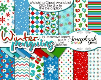 """WINTER PENGUINS Digital Papers, 23 Pieces, 12"""" x 12"""", High Quality JPEGs, Instant Download snowflake igloo penguin mitten flurry snow winter"""
