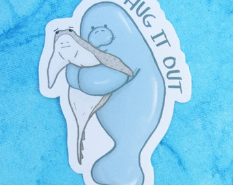 Hug it out! Manatee & Sting Ray Sticker
