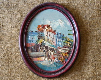 Vintage Small Oil painting 7 inches, Wall decor