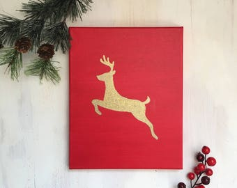 Reindeer Holiday Painted Canvas