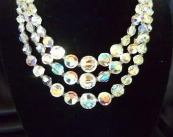 Triple Strand AB Crystal Necklace - 3 Strand Vintage Crystal Necklace