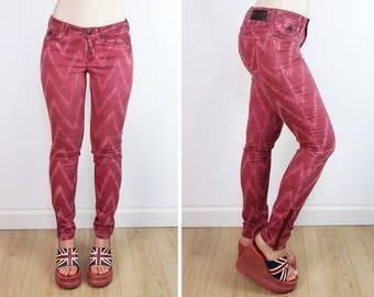 MAISON SCOTCH  La Bohemienne zig-zag red skinny jeans / tight jeans / size XS-S | W 26/ L 32