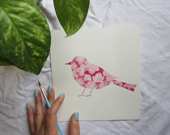 Bougainvillea inspired bird lllustration