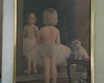 Vintage Framed Wall Hanging Ballerina Girl Looking in Mirror with Dog Watching