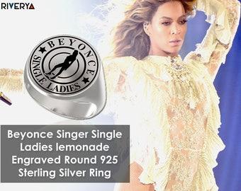 Woman Ring, Signet Ring, Engraved Round Ring, 925 Sterling Silver, Single Ladies, Beyonce Singer, Beyonce Ring, Beyonce,  Beyonce Jewelry