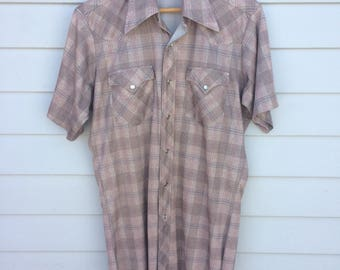 Vintage 70's H Bar C short sleeved western shirt.