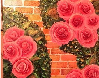 Cottage chic mauve, peach, and pink  trailing roses painting