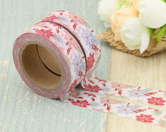 Washi Tape - Christmas Washi Tape - Poinsettia washi Tape - Paper Tape - Planner Washi Tape - Washi - Decorative Tape - Floral Washi Tape