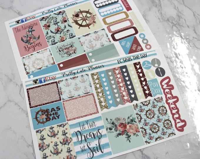 Planner Stickers - Weekly Planner Sticker Set - Erin Condren Life Planner - Happy Planner - Day Designer- Functional stickers - Seas the Day