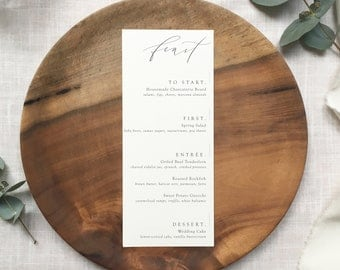 minimalist menu with modern calligraphy   wedding menu   event menu   custom calligraphy   rehearsal dinner menu   wedding paper