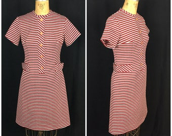 1960s Red Grey and White Striped Mini Dress | 60s Button Mod Dress | 60s A-line Dress