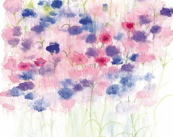 Pretty Cornflowers Watercolour Print