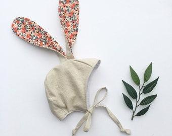 Bunny Bonnet - Baby Bunny Bonnet - Linen Bunny Bonnet - Easter Bunny Bonnet - Spring Baby Bonnet - Baby Hat - Newborn Bunny Bonnet