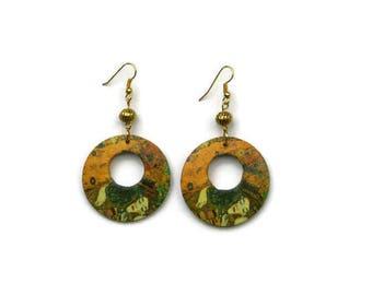 Klimt - hoop earrings the kiss from Klimt - art, gift for her - jewelry Earrings - Klimt Jewel art - Gift for her