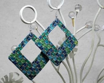 Big earrings green/blue pattern scales, shape square, Big green / blue earrings motivates scales for her