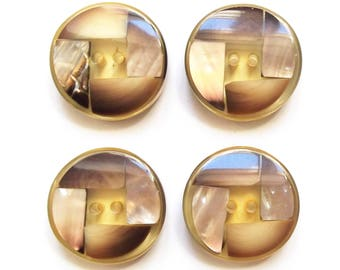 4 large buttons vintage mother of Pearl and beige 28 mm