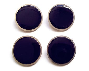 4 buttons round Navy blue enamel and silver plated 25 mm / top quality