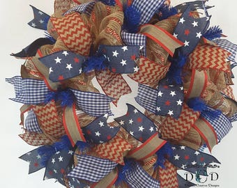 4th of July Mesh and Ribbon Wreath