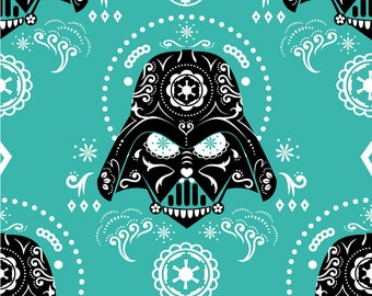 "Darth Vader sugar skulls on teal fabric - BY the HALF YARD - 44"" wide, star wars fabric, cotton fabric, darth vader fabric, sugar skulls"