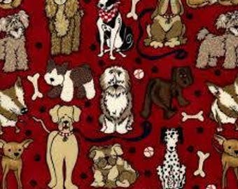 """Novelty dogs and leashes on red fabric, By the Half Yard, 44"""" wide, 100% cotton, dog fabric, animal fabric, novelty fabric, dog breeds"""