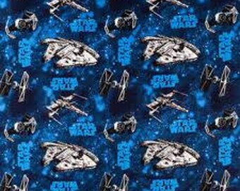 "Star Wars millenium falcon fabric, By the Half Yard, 44"" wide, cotton, star wars fabric, blue star wars, X wing fighter, lucasfilm"