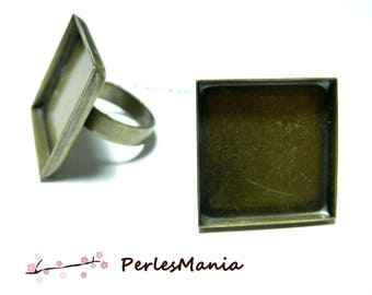 Ring holder square 18mm BRONZE edge thick quality ID11509