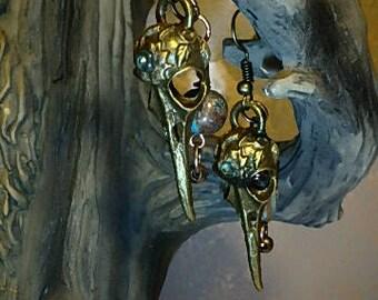 Brass Vulture Bird Skull Earing's