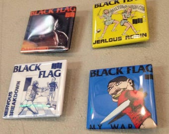 Black Flag Set of 4 Square Button Pins*