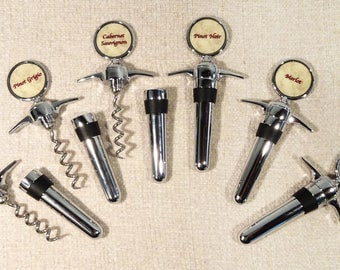 Wine Opener - and - Wine Stopper (Two in One) Set of FOUR