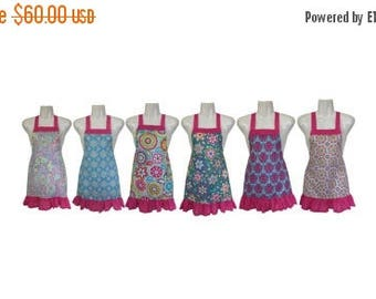20% OFF SALE Kids Apron Set of 6 // Colorful Floral and Paisley // Great for Baking Party // Kids Party // Size 4-6-8-Young Adult