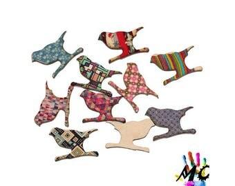 set of 10 wooden birds embellishments